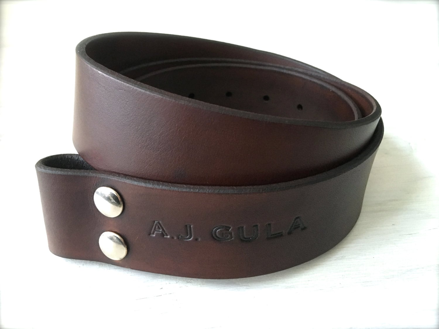 leather belt belt blank personalized engraving brown