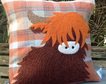 Tweed & tartan highland cow cushion