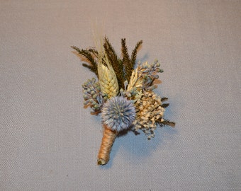 Wedding Boutonniere, Blue Boutonniere -  Blue Globe Thistle Ivory dried flowers Seeded Eucalypyus and Wheat  - Can be Custom Made to Order