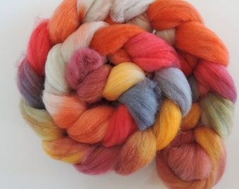 merino nylon,Rainbow No.274, Sock blend top,handpainted fiber for spinning,ca.3,5oz