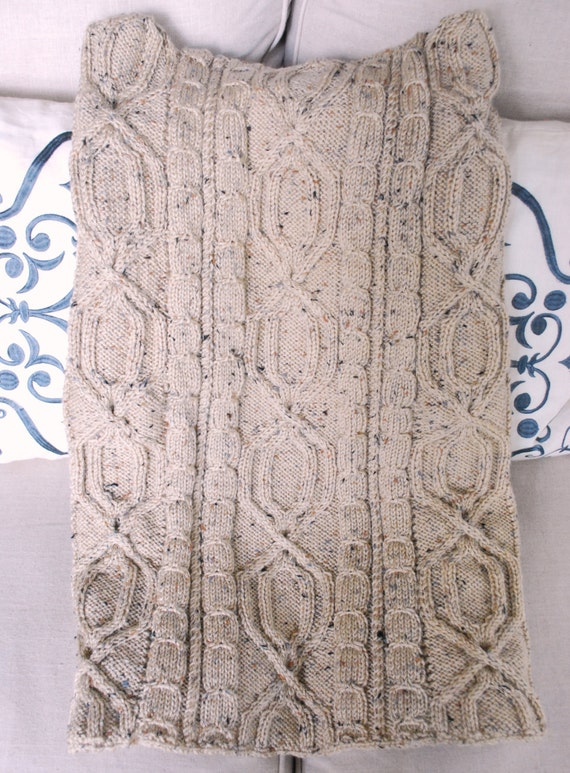 Hand Knit Irish Fisherman Pattern Afghan Throw