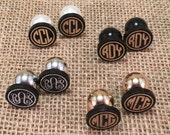 "Personalized Monogram 3/4"" Acrylic Circle Font Earrings with Large Pearl Backs"