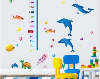 Height Chart Wall Stickers - Dolphins & Fish - AW9236