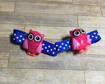 Wise owl hair clip set