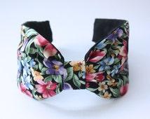 Headband. Floral fabric headband. Knotted headband. Turban style headband. Turband. Dark floral headband. Floral print headband.