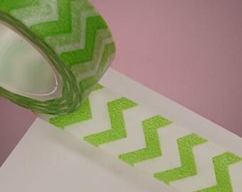 """9/16"""" Lime Washi Tape with White Zig Zag Stripes - 10 Yards"""