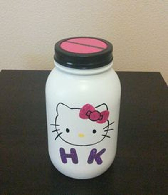 Items similar to hello kitty mason jar coin bank on etsy for Mason jar piggy bank