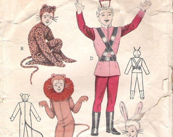 """Butterick Pattern 6756 Vintage Pattern Childrens Animal Costumes Space Suit Child Sizes 6 to 8 Breast 26"""" Vintage 1950s"""