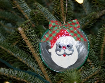 Seashell Santa on Capiz Shell Ornament