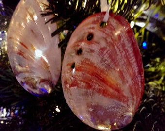 Red Abalone Seashell Ornament, Seashell Christmas Ornaments