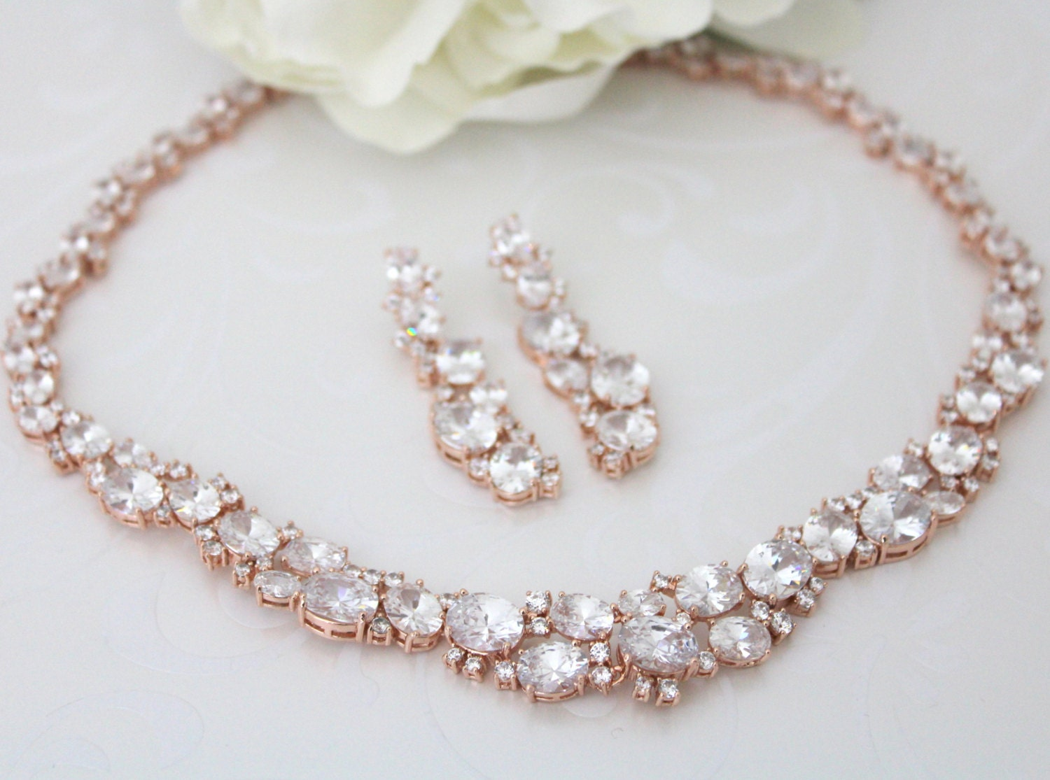 Rose Gold Necklace Set Crystal Bridal Necklace Rose Gold