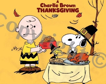 Charlie Brown Snoopy Thanksgiving favor box Charlie Brown and