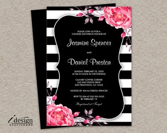 Floral Black And White Striped Couples Shower Invitation With Pink Watercolor Peonies | DIY Printable Spring Flowers Wedding Shower Invites