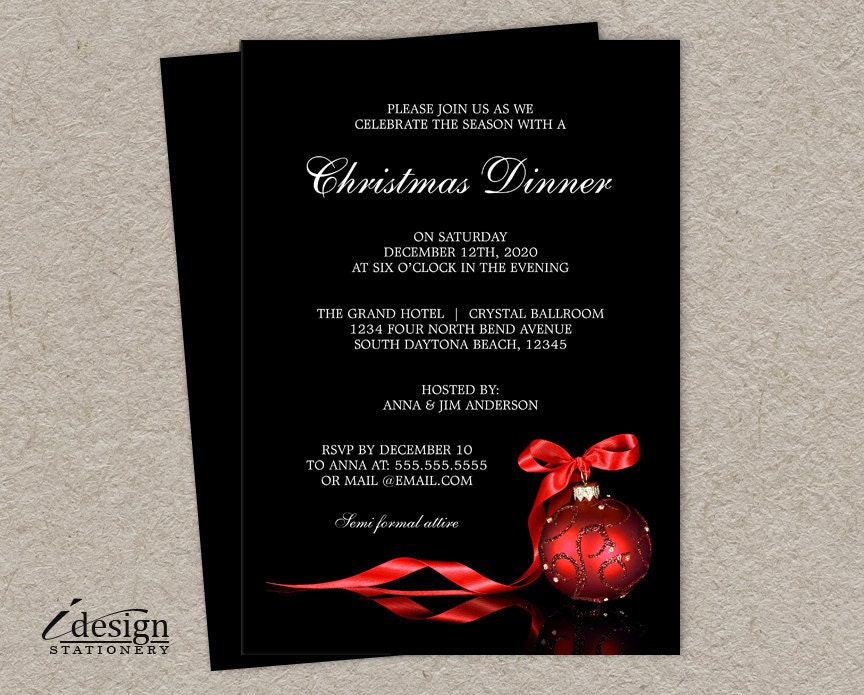 elegant christmas dinner party invitations printable holiday