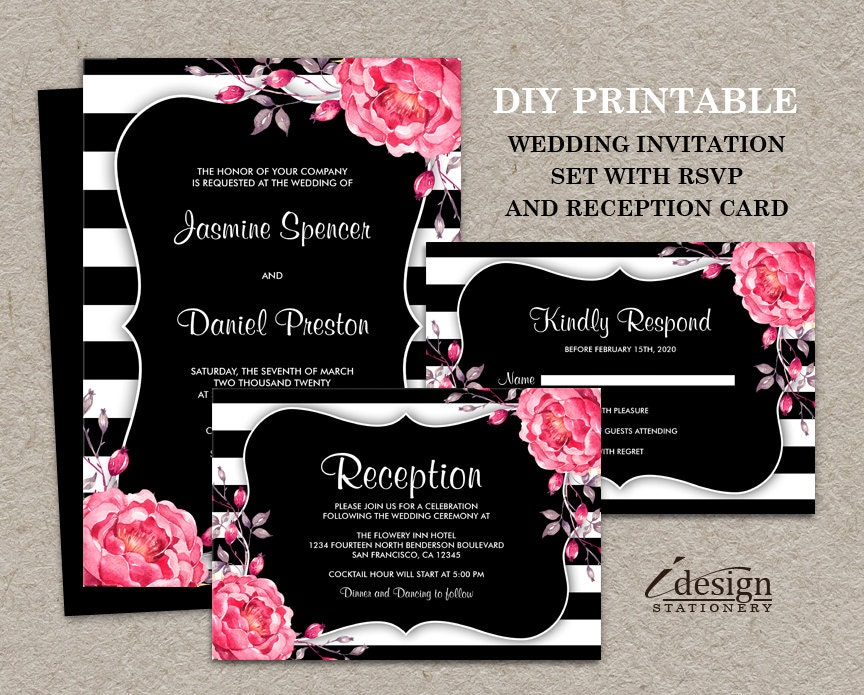 Wedding Invitation Kits Michaels: Botanical Black And White Stripe Wedding Invitation Kits DIY