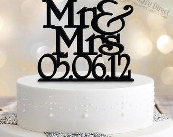 Personalised Mr&Mrs Cake Topper with Date Stacked Design
