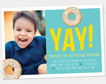 Donut birthday invitation | DIGITAL DOWNLOAD