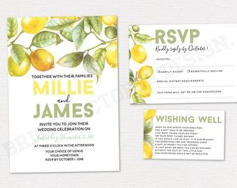 Lemon wedding invitation suite | digital download