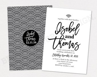 Elegant wedding invitation suite 5x7 | digital download | Art deco, Gatsby invite