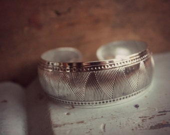 Bohemian Cuff Bracelet, Silver Printed and Hammered Cuff Bracelet