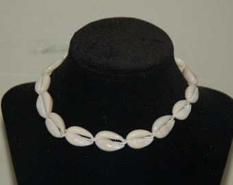"""Natural Hemp Choker Surfer Necklace --Cowrie Shells-- Choose Your Size 14"""" to 20"""""""