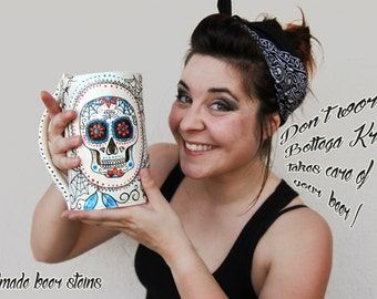 sugar skull beer stein ceramic, large size, handmade mug with calavera mexican MADE TO ORDER