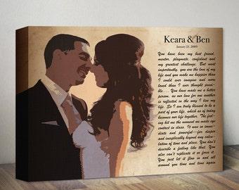 Anniversary Gift, Pop Art Photo Lyric Canvas Art, Custom Old Wedding Photo & Song Lyrics Vows First Dance Lyrics, Anniversary Canvas Gift
