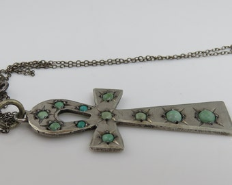 Antique Persian Turquoise Egyptian Ankh Cross Pendant Necklace.