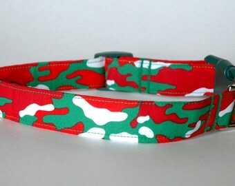 "Handmade Christmas Camouflage Design Dog Collar ""New"""