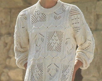 Ladies tunic style jumper  vintage knitting pattern PDF instant download