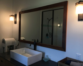 Mirror Reclaimed Barn Wood Frame, Mirror Frame, Mirror Reclaimed Wood, Farmhouse Mirror, Bathroom Mirror,  3' x 5' Outer Dimensions