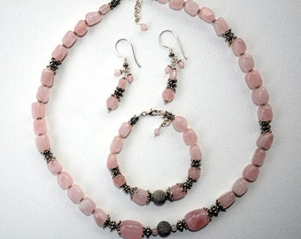 Pure Love Trio Jewelry Set -  made of rose quartz and sterling silver