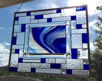Stunning Cobalt Blue Spectrum Swirl Stained Glass Panel