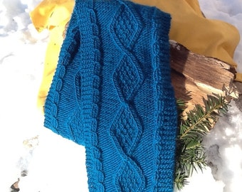 SALE!! Dark teal cable knit scarf, deep teal with distinctive diamond cables, celtic knit, classic style, soft wool blend
