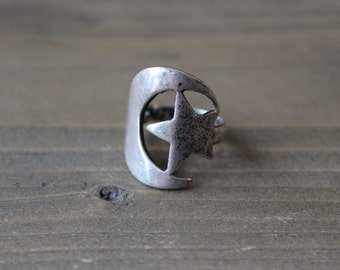 Sterling Silver Moon Star Ring Size 6
