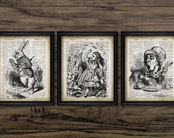 Alice In Wonderland Print Set Of 3 - White Rabbit - Deck Of Cards - Mad Hatter - Lewis Carroll  - Set Of Three Prints #1296 -INSTANTDOWNLOAD