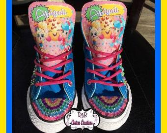 Shopkins Converse,  pearl bling, shopkin Chucks, kookie cookie Converse,  shopkins, Custom Bling Converse, shopkin bling Converse