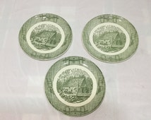 Yoke and Plow or Oxbow pattern by Scio Pottery 3 Dinner Plates Water Mill