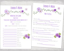 """Mad Libs wedding template purple bridal libs printable guest card """"Folk festival"""" Marriage Mad libs wedding game - YOU EDIT instant download"""