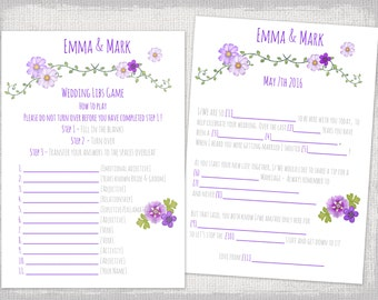 "Mad Libs wedding template purple bridal libs printable guest card ""Folk festival"" Marriage Mad libs wedding game - YOU EDIT instant download"