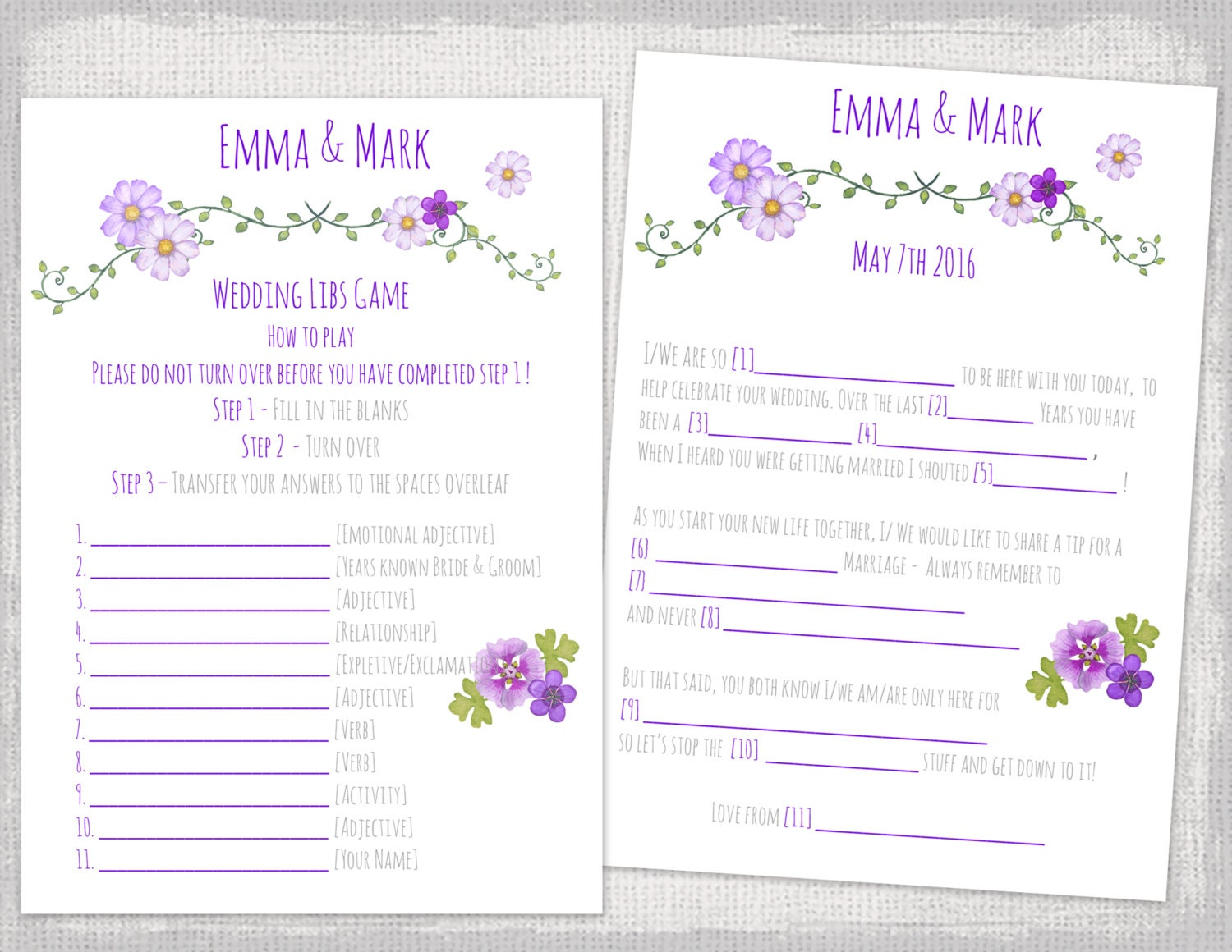 Mad libs wedding template purple bridal libs printable guest for Guest libs wedding edition template