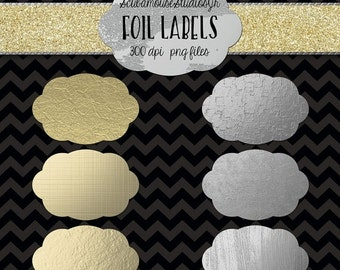 70% OFF THRU 7/30 Gold and Silver Foil Labels, Scrapbooking Supply, 6 inch 300 dpi, commercial use, gold silver foil clipart