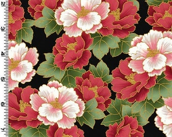 Peony Prairie - Red/Pink Peonies by Kona Bay (PEON11-RED) Cotton Fabric Yardage