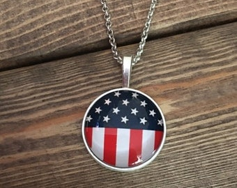 AMERICAN FLAG NECKLACE - Stars and Stripes - Red White &  Blue necklace - Patriotic jewelry