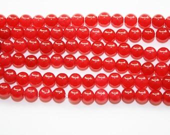 Jade, Red Jade Beads, Round Jade, Red Beads - 6mm - 60ct - D058
