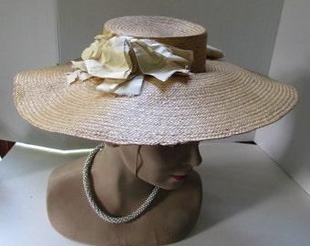 SALE! Summer Straw Hat Garden Party Hat Antique Straw Hat Silk Ribbons Wide Brim Hat Lady Accessories Vintage Fashions