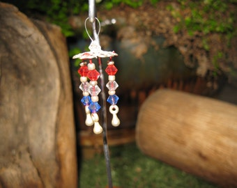 Fairy Garden Wind Chime 4th of July colors fairy house cottage door