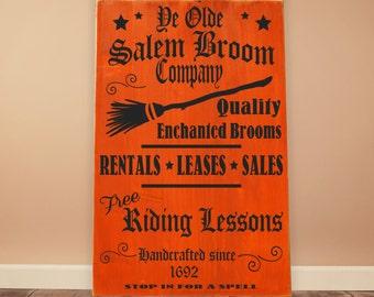 "Olde Salem Broom Co. Vinyl Wooden Sign 12""x18"".  Halloween decor, witch sign, Halloween sign, Fall decor, witch decor, rustic wood sign"
