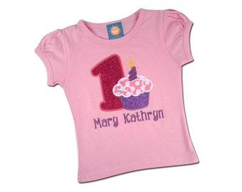 Girl Pink Cupcake Birthday Shirt with Glitter Number and Name