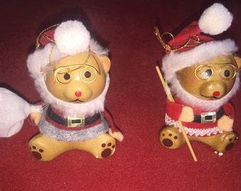 Vintage Santa bear figurines bears with glasses